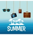 poster summer island palm suitcase camera vector image