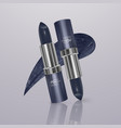 realistic lipstick of dark blue color with stroke vector image