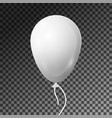 realistic white balloon with ribbon isolated vector image