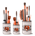 red makeup brushes mascara comb cotton buds vector image