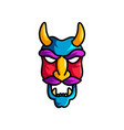 scary monster mask with violet mustache and yellow vector image vector image