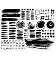 set brush strokes black ink grunge brush vector image