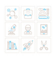 set of education icons and concepts in mono thin vector image vector image