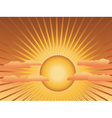 Sun with rays and clouds vector image vector image