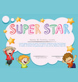 super star award template with kids in background vector image vector image