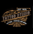 tattoo logo old lettering on dark background with vector image vector image