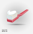 toothbrush with toothpaste icon vector image vector image