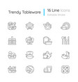 trendy tableware linear icons set vector image vector image