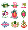 tropical plants emblems set vector image