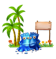 Two blue monsters standing in front of the empty vector image vector image