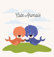 white background with color scene couple cute vector image