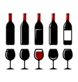 wine bottle and glass set vector image vector image
