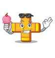 with ice cream cartoon plus sign logo concept vector image