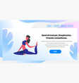 woman doing yoga exercises cartoon character vector image vector image