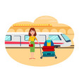 woman with lot of baggage at railway station vector image vector image