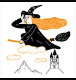 young witch is riding a magic broom across vector image
