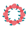 wreath with roses decorative icon vector image