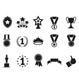 black award icons set vector image