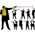silhouette of armed man vector image
