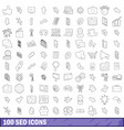 100 seo icons set outline style vector image vector image