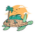 beach and turtle vector image vector image