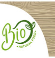 bio natural food empty banner with leaves plant vector image vector image