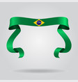 brazilian flag wavy ribbon background vector image