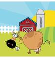 Cartoon cows on farm vector image vector image