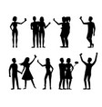 cartoon silhouette black characters people takes vector image vector image
