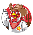 chicken cowboy thumb up vector image vector image