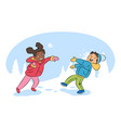 children playing snowballs cartoon vector image vector image