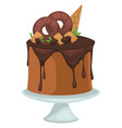 chocolate cake with donuts and ice cream cone vector image vector image