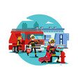 colorful firefighting template vector image vector image
