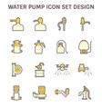 drinking water pump and fluid pump icon set design vector image