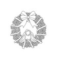 easter wreath and rabbit outline vector image vector image