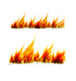 fiery flames on a white background fire bonfire vector image