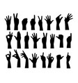 finger hand silhouette vector image vector image