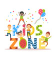 flat cartoon kid zone banner poster design vector image