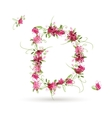 Floral letter D for your design vector image vector image