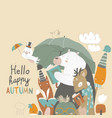 funny animals read books under umbrella autumn vector image