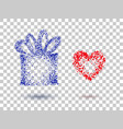 gift box and heart on a transparent background vector image vector image