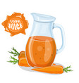 glass of carrot juice and fresh carrots vector image vector image