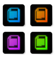 glowing neon document icon isolated on white vector image vector image