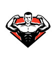 gym bodybuilding weightlifting logo or label vector image vector image