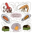 Hand drawn collection of seafood vector image