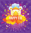 happy eid with mosque and ornament vector image