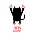happy halloween cartoon black cat back view red vector image vector image