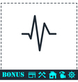 Heart beat cardiogram icon flat vector image