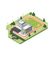 high school soccer field isometric vector image