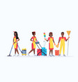 janitors team cleaning service concept african vector image vector image